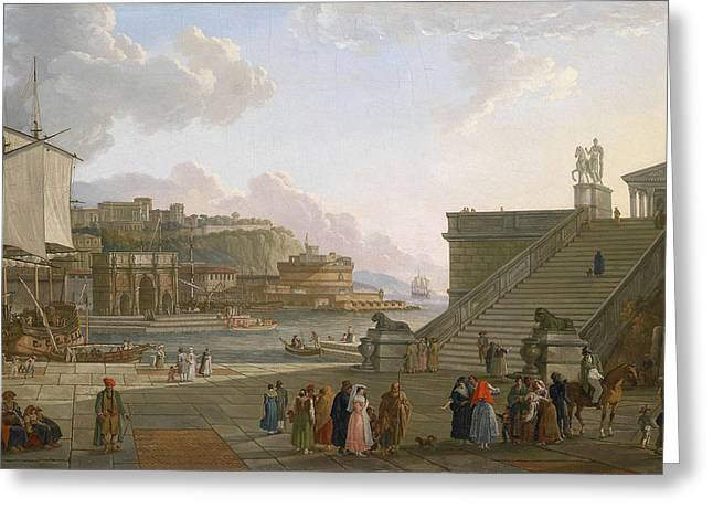 A Mediterranean Port Greeting Card by Celestial Images