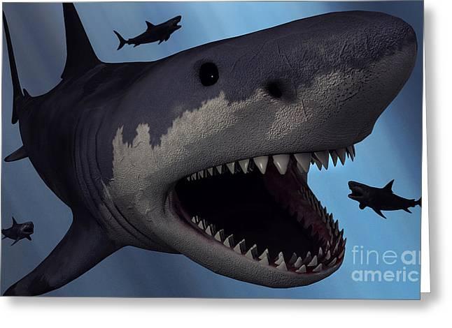 A Megalodon Shark From The Cenozoic Era Greeting Card