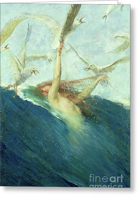 A Mermaid Being Mobbed By Seagulls Greeting Card by Giovanni Segantini