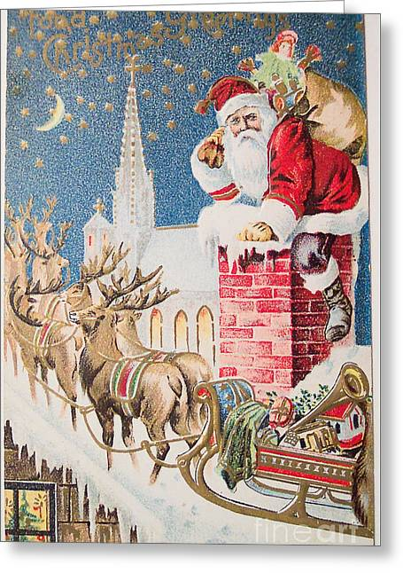 A Merry Christmas Vintage Greetings From Santa Claus And His Raindeer Greeting Card by R Muirhead Art