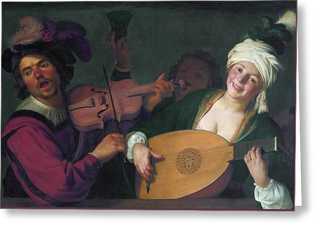 A Merry Group Behind A Balustrade With A Violin And A Lute Playe Greeting Card