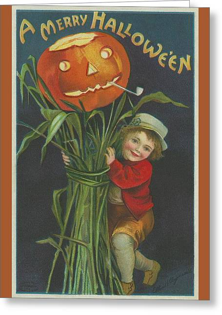 A Merry Halloween Greeting Card by Ellen Hattie Clapsaddle
