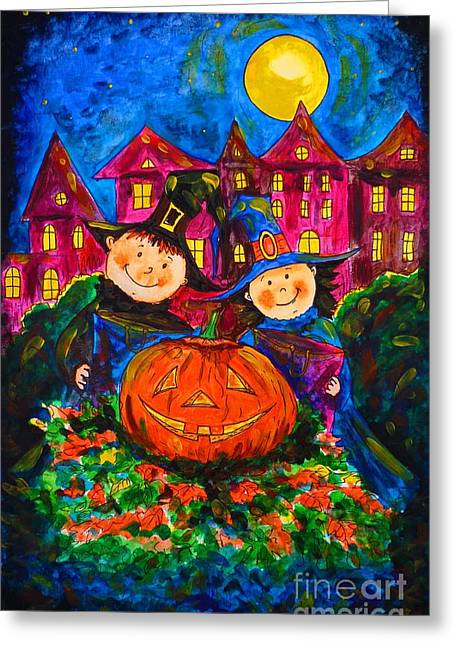 Horror Film Greeting Cards - A Merry Halloween Greeting Card by Zaira Dzhaubaeva