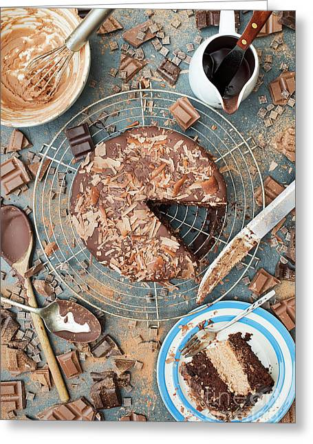 A Mess Of Chocolate Greeting Card by Tim Gainey