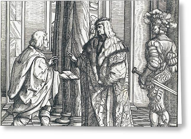 A Message Concerning The White King's Marriage Greeting Card by Hans Burgkmair I