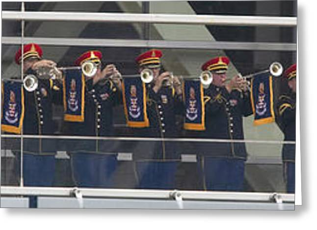 A Military Band Of Trumpeters Performs Greeting Card by Panoramic Images