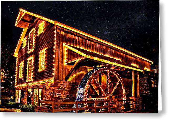 A Mill In Lights Greeting Card