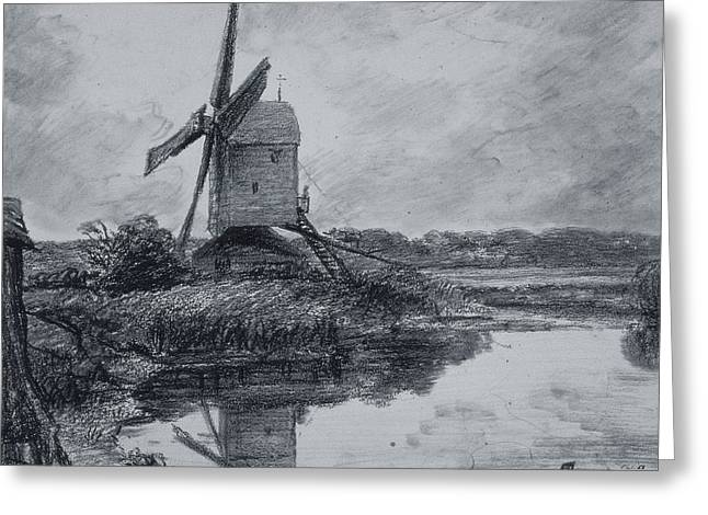 A Mill On The Banks Of The River Stour Charcoal On Paper Greeting Card