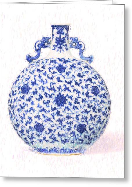 A Ming-style Blue And White Moonflask Art Greeting Card