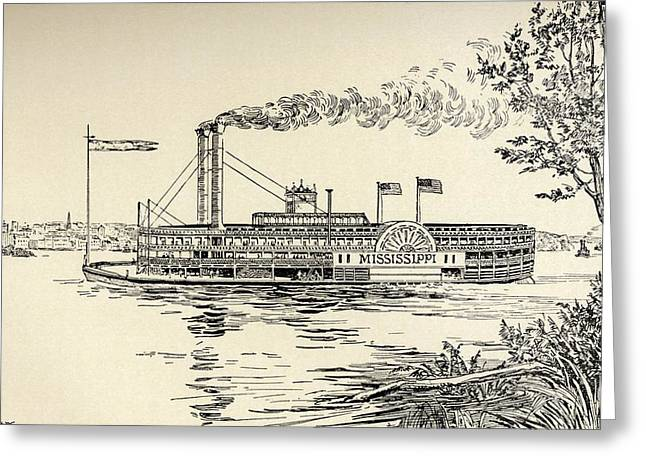 A Mississippi Steamer Off St. Louis Greeting Card by Vintage Design Pics