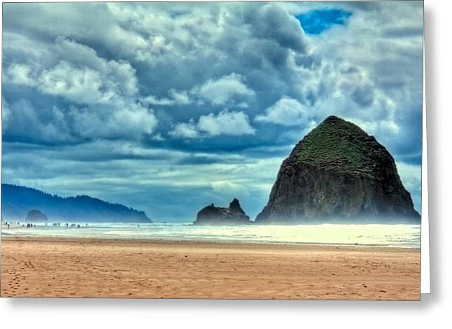 A Misty Cannon Beach Greeting Card by David Patterson