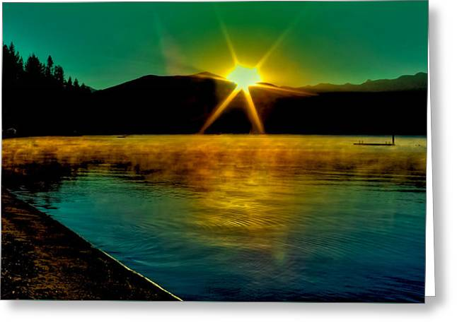 A Misty Sunrise On Priest Lake Greeting Card