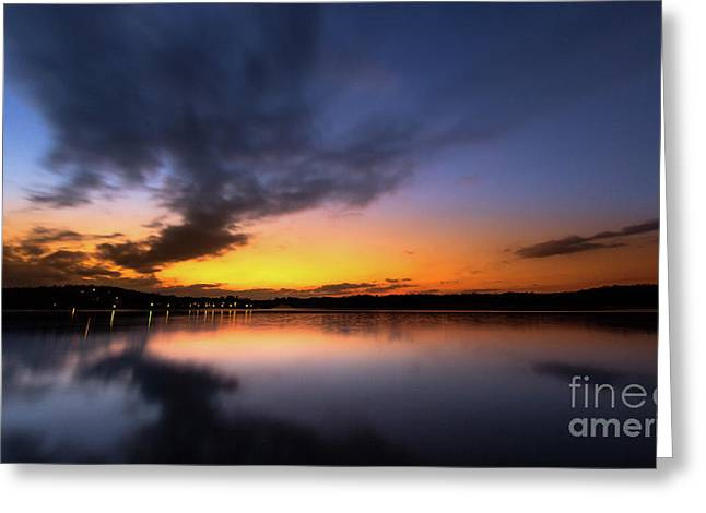 A Misty Sunset On Lake Lanier Greeting Card