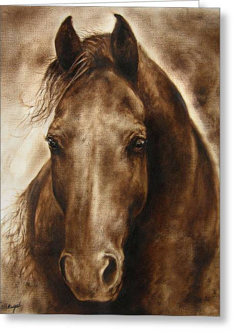 Barok Greeting Cards - A Misty touch of a Horse so gentle Greeting Card by Paula Collewijn -  The Art of Horses