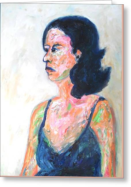 Greeting Card featuring the painting A Modern Madame Bovary by Esther Newman-Cohen