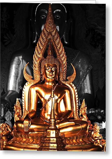 Black Greeting Cards - A moment with Buddha Greeting Card by Michael Wessel