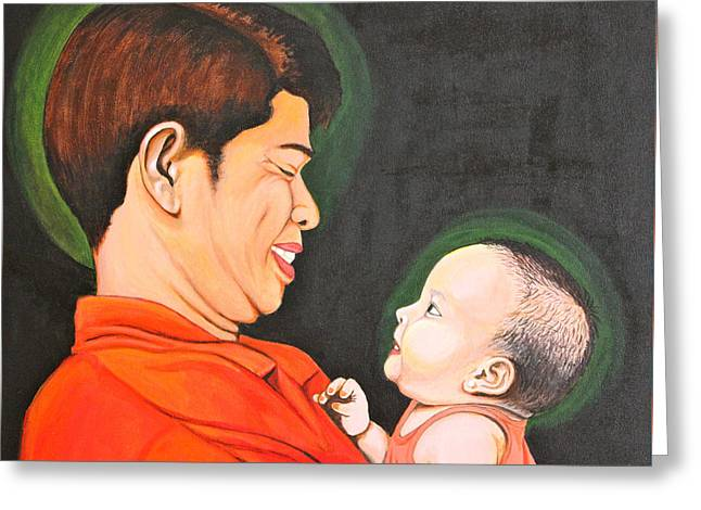 Greeting Card featuring the painting A Moment With Dad by Cyril Maza