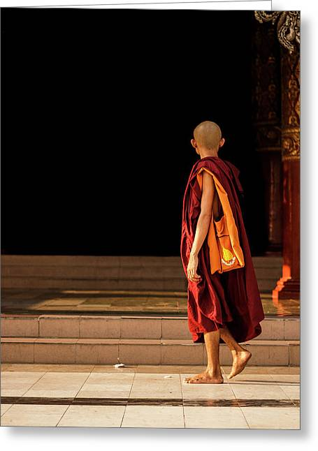 A Monk In Myanamar Greeting Card by Josh Kathey