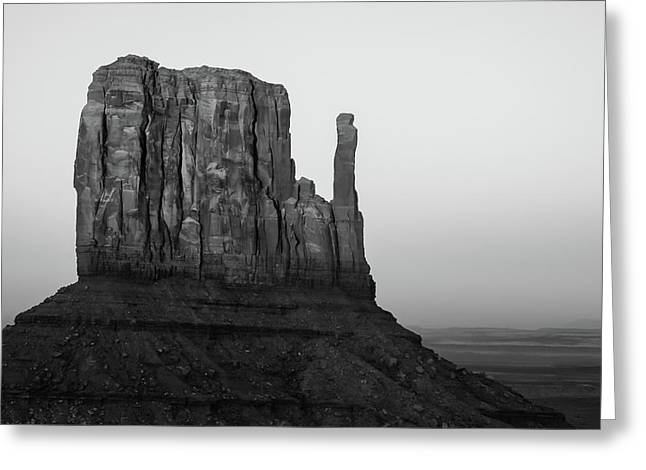 A Monument Of Stone Black And White Greeting Card by Gregory Ballos