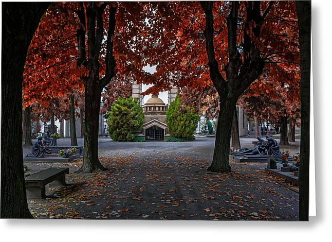 A Monumental Autumn In Milan Italy Greeting Card by Carol Japp