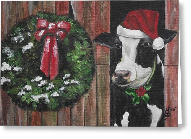 A Moo-rry Christmas Greeting Card by Kim Selig