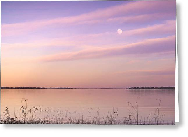 A Moon And Lake Somerville - Texas Greeting Card by Ellie Teramoto