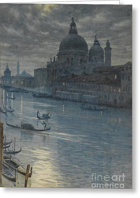 A Moonlight Scene, Venice Greeting Card by Celestial Images
