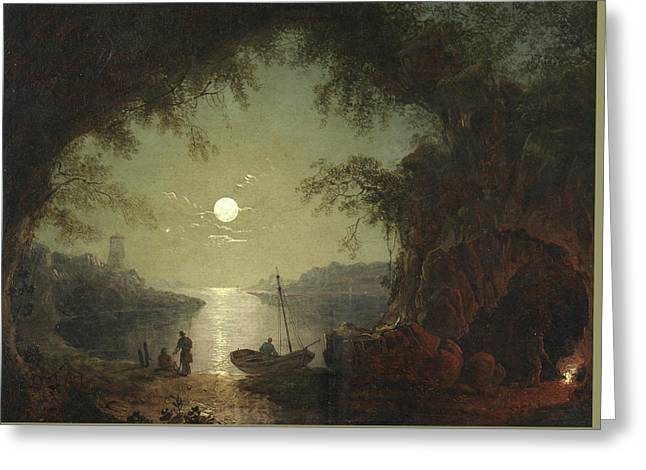 A Moonlit Cove Greeting Card by Sebastian Pether