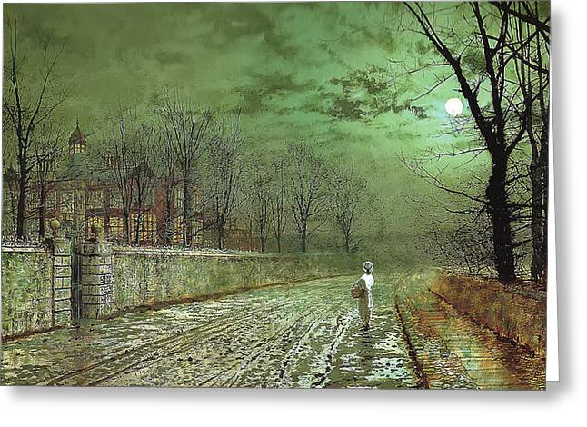A Moonlit Evening Greeting Card by John Grimshaw