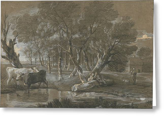 A Moonlit Landscape With Cattle By A Pool Greeting Card by Thomas Gainsborough