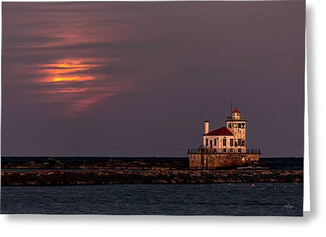 A Moonsetting Sunrise Greeting Card by Everet Regal