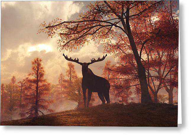 Greeting Card featuring the digital art A Moose In Fall by Daniel Eskridge