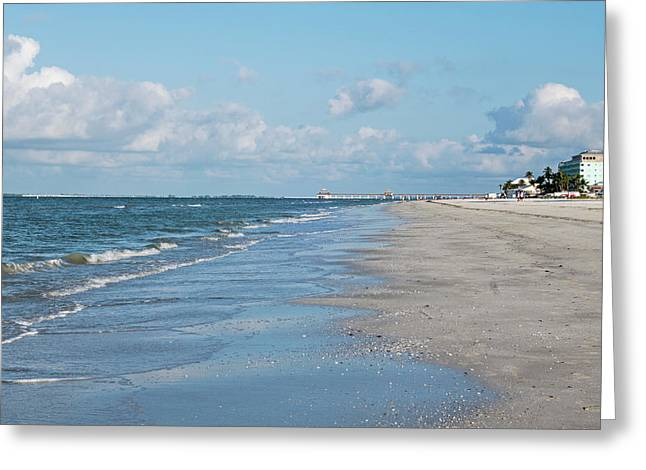 A Morning Walk On Fort Myers Beach Fort Myers Florida Greeting Card