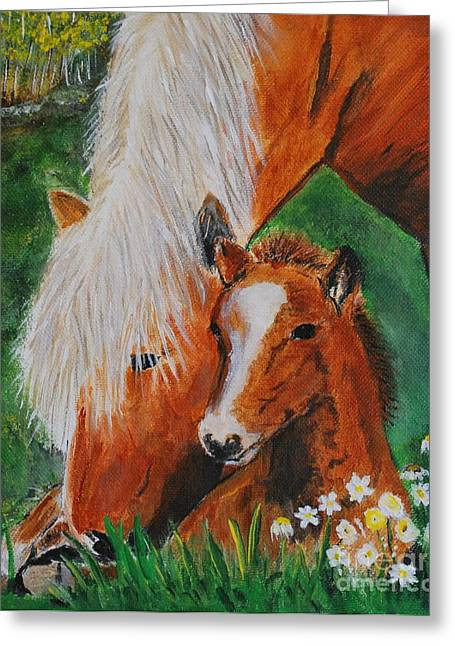 Greeting Card featuring the painting A Mothers Love by Leslie Allen