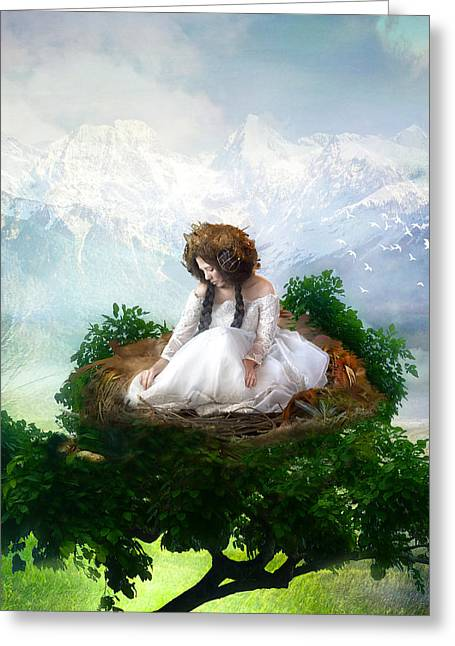 Fantasy Tree Greeting Cards - A Mothers Patience Greeting Card by Karen K