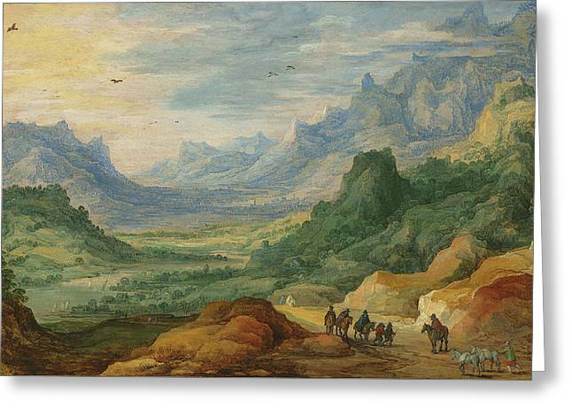 A Mountainous Landscape With Travellers And Herdsmen On A Path Greeting Card by Jan Brueghel and Joos de Momper