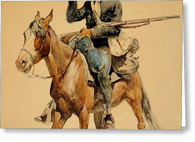 A Mounted Infantryman Greeting Card by Frederic Remington