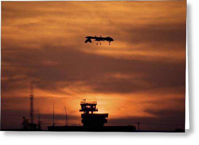 Airfield Greeting Cards - A Mq-1 Predator Over Cob Speicher Greeting Card by Terry Moore