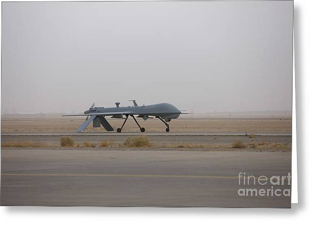 A Mq-1c Warrior Taxis Out To The Runway Greeting Card