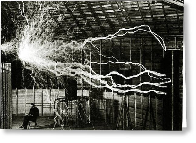 A Multiple Exposure Picture Of Tesla With His Magnifying Transmitter Greeting Card