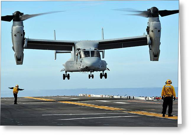 Rotorcraft Photographs Greeting Cards - A Mv-22 Osprey Aircraft Prepares Greeting Card by Stocktrek Images