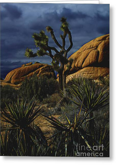 A Mysterious Stormy Desert Sky Greeting Card
