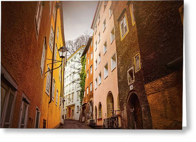 A Narrow Street In Salzburg  Greeting Card