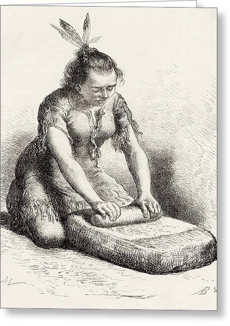 A Native Guayan Woman Crushing Grain Greeting Card