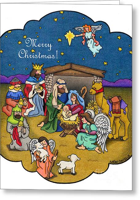 A Nativity Scene- Merry Christmas Cards Drawing by Sarah Batalka