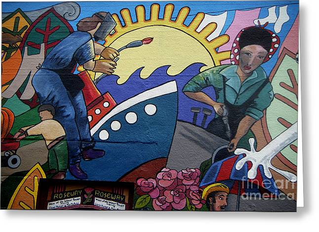A Neigborhood In Motion Mural  Rosie The Riviter And Wendy The Welder Greeting Card by Angelina Marino