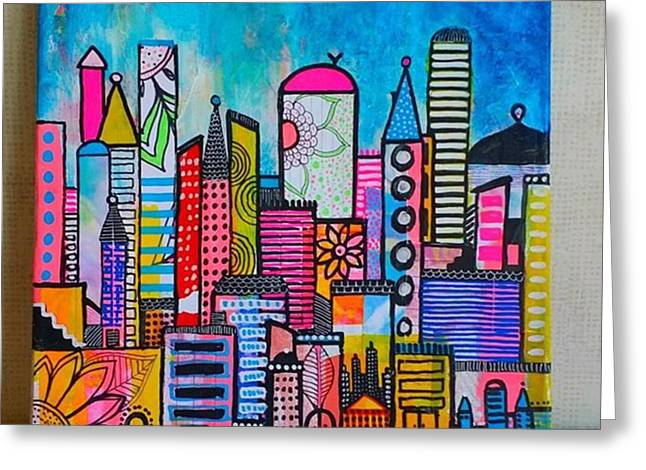A New 12 X12 #cityscape #collage Greeting Card