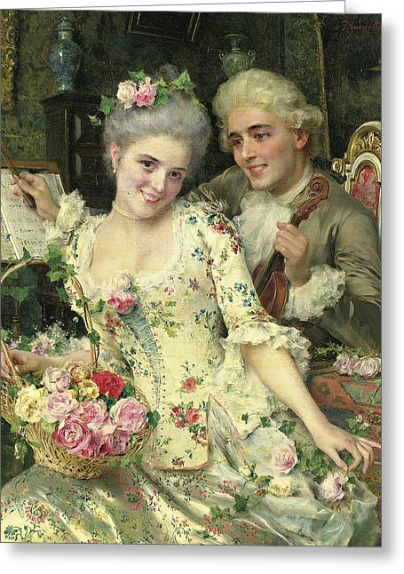 A New Basket Of Flowers Greeting Card by Federico Andreotti