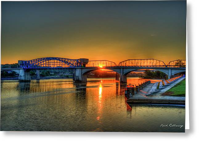 A New Day Chattanooga Sunrise Market Street Bridge Greeting Card by Reid Callaway