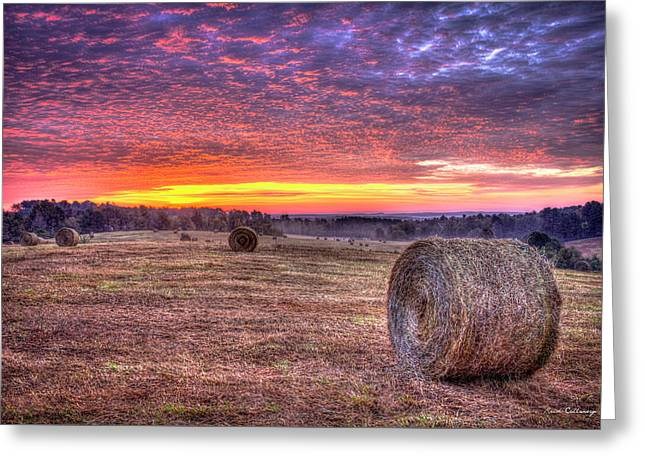 Greeting Card featuring the photograph Before A New Day Georgia Hayfield Sunrise Art by Reid Callaway